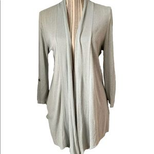 Bobeau Cardigan Medium Grayish Green Open Front